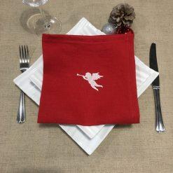 serviette de table lin rouge broderie ange ivoire