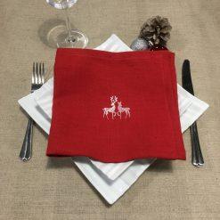 serviette de table lin rouge broderie rennes ivoire