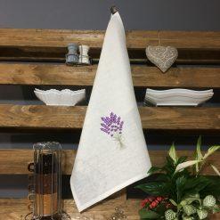 torchon lin blanc broderie lavande