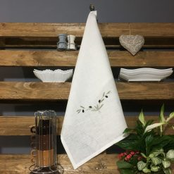 torchon lin blanc broderie olive