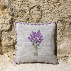 sachet de lavande coussinet lin chiné broderie bouquet lavande lilas