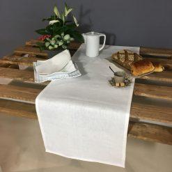 chemin de table lin blanc