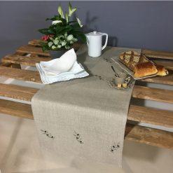 chemin de table lin naturel broderie olive vert
