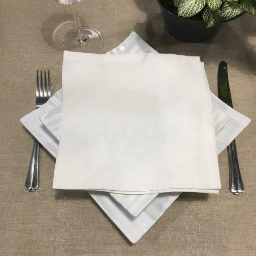 serviette de table lin blanc