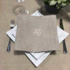 serviette de table lin naturel broderie monogramme ivoire