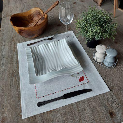 set de table lin enduit blanc broderie coquelicot