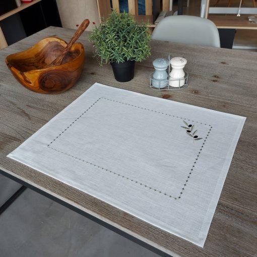 set de table lin enduit blanc broderie olive