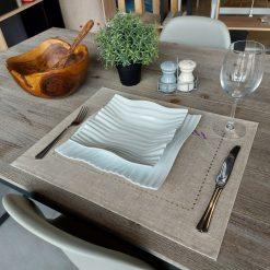set de table lin enduit chiné broderie lavande