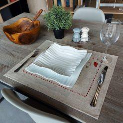 set de table lin enduit chiné broderie coquelicot