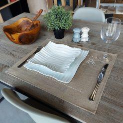 set de table lin enduit naturel broderie monogramme