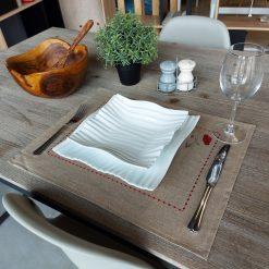 set de table lin enduit naturel broderie coquelicot