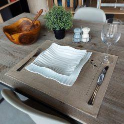 set de table lin enduit naturel broderie olive