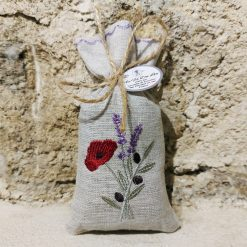 sachet de lavande lin chiné broderie trio coquelicot olive lavande